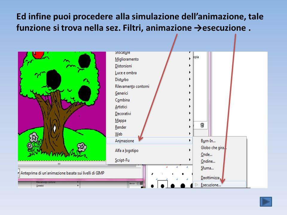 Ed infine puoi procedere alla simulazione dellanimazione, tale funzione si trova nella sez.