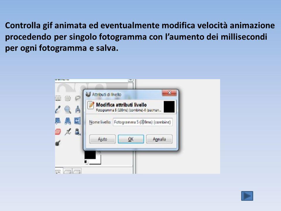 Controlla gif animata ed eventualmente modifica velocità animazione procedendo per singolo fotogramma con laumento dei millisecondi per ogni fotogramma e salva.