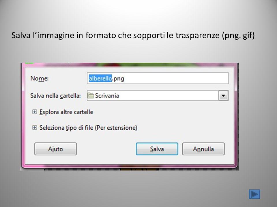 Salva limmagine in formato che sopporti le trasparenze (png. gif)