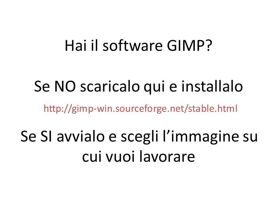 Hai il software GIMP? Se NO scaricalo qui e installalo http://gimp-win.sourceforge.net/stable.html Se SI avvialo e scegli limmagine su cui vuoi lavora