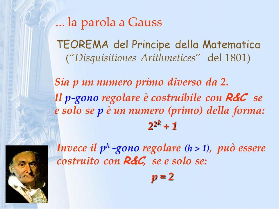 ... la parola a Gauss TEOREMA del Principe della Matematica (Disquisitiones Arithmetices del 1801) Sia p un numero primo diverso da 2. Il p-gono regol