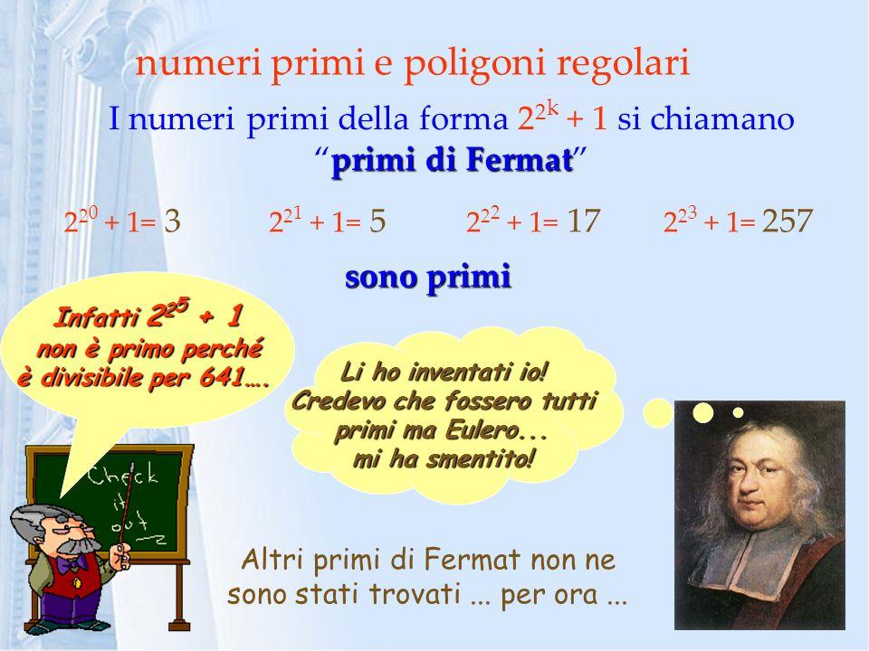 numeri primi e poligoni regolari primi di Fermat I numeri primi della forma 2 2 k + 1 si chiamanoprimi di Fermat Li ho inventati io! Credevo che fosse