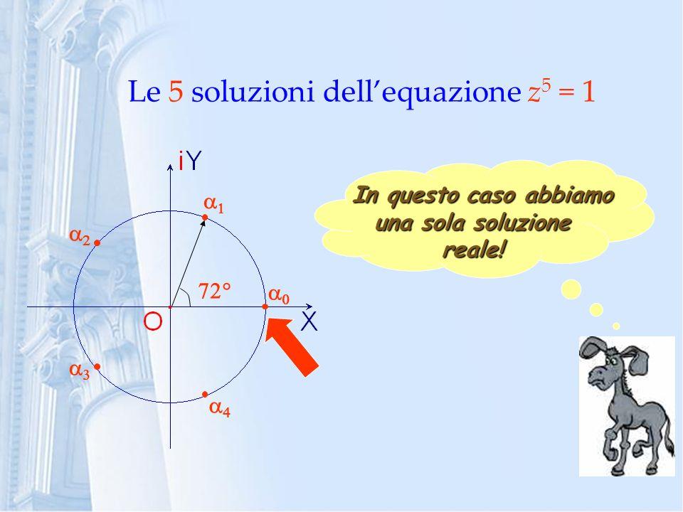 Le 5 soluzioni dellequazione z 5 = 1 In questo caso abbiamo In questo caso abbiamo una sola soluzione reale!