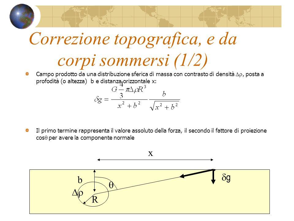 Correzione topografica, e da corpi sommersi (1/2) Campo prodotto da una distribuzione sferica di massa con contrasto di densità, posta a profodità (o