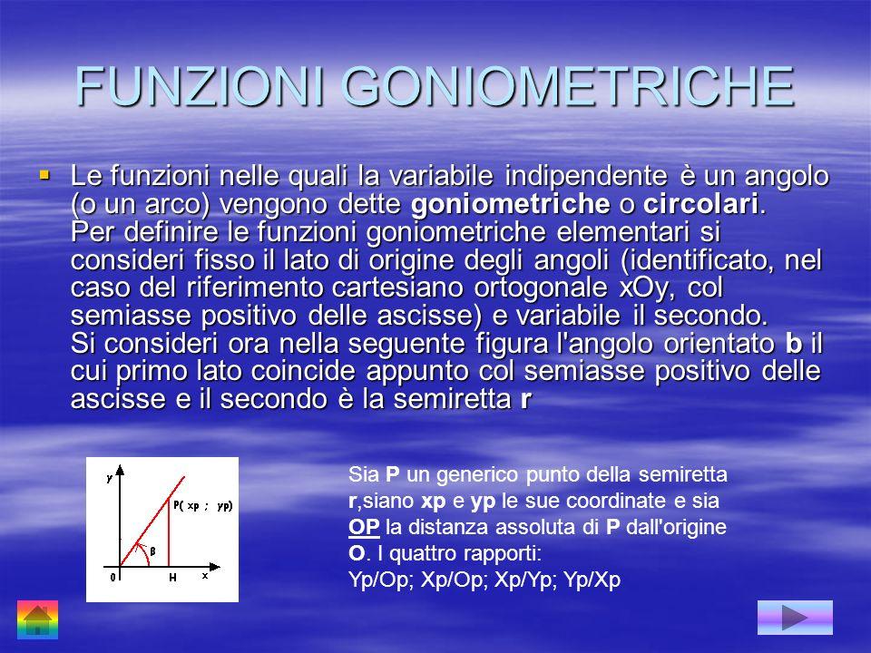 FUNZIONI GONIOMETRICHE Le funzioni nelle quali la variabile indipendente è un angolo (o un arco) vengono dette goniometriche o circolari. Per definire