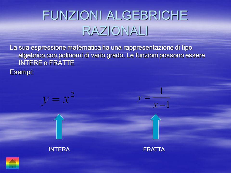 FUNZIONI ALGEBRICHE RAZIONALI La sua espressione matematica ha una rappresentazione di tipo algebrico con polinomi di vario grado. Le funzioni possono