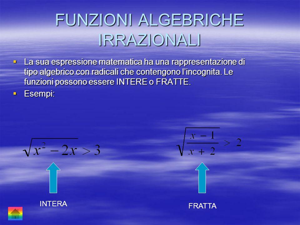 FUNZIONI ALGEBRICHE IRRAZIONALI La sua espressione matematica ha una rappresentazione di tipo algebrico con radicali che contengono lincognita. Le fun