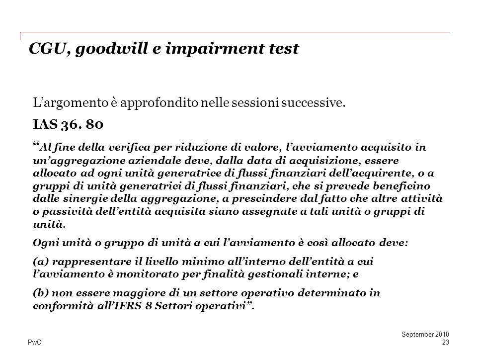 PwC CGU, goodwill e impairment test Largomento è approfondito nelle sessioni successive.