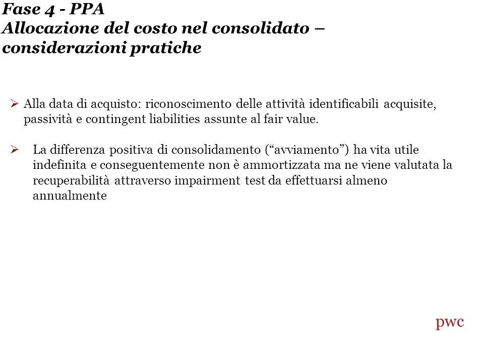 Fase 4 - PPA Allocazione del costo nel consolidato – considerazioni pratiche Alla data di acquisto: riconoscimento delle attività identificabili acquisite, passività e contingent liabilities assunte al fair value.
