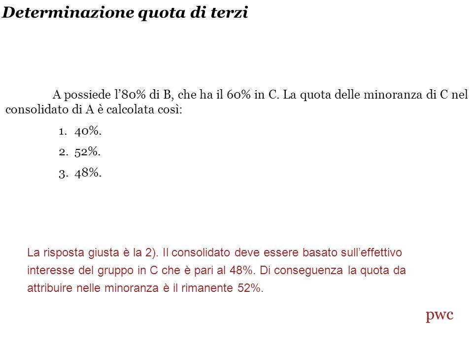 Determinazione quota di terzi A possiede l80% di B, che ha il 60% in C.