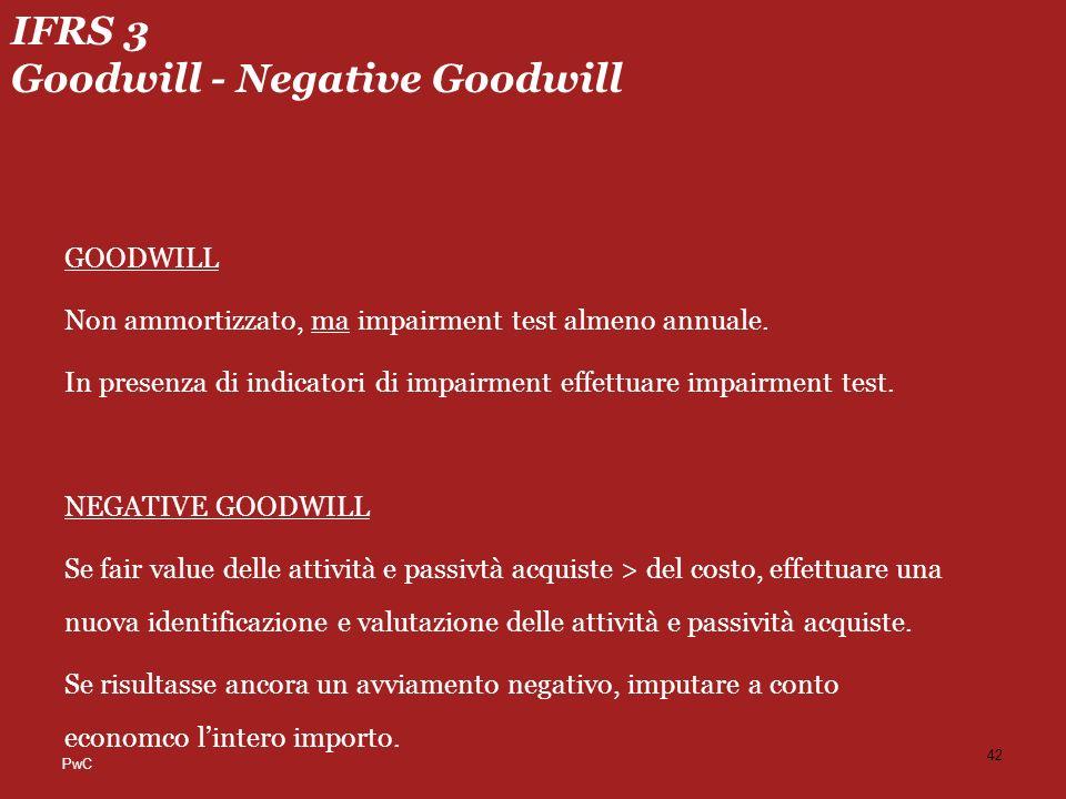 PwC IFRS 3 Goodwill - Negative Goodwill GOODWILL Non ammortizzato, ma impairment test almeno annuale.