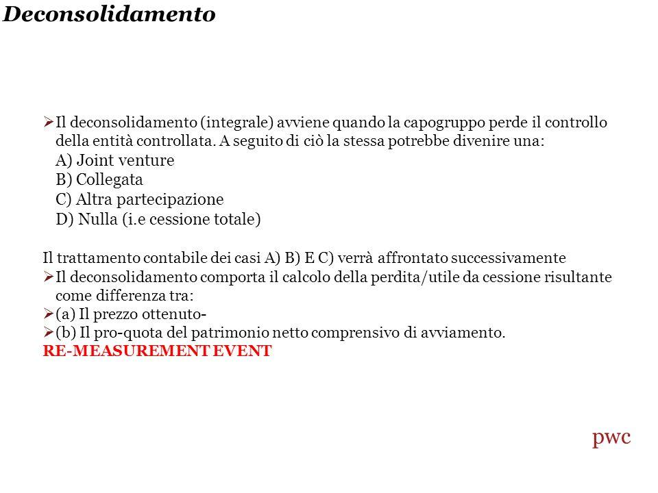 Deconsolidamento Il deconsolidamento (integrale) avviene quando la capogruppo perde il controllo della entità controllata.