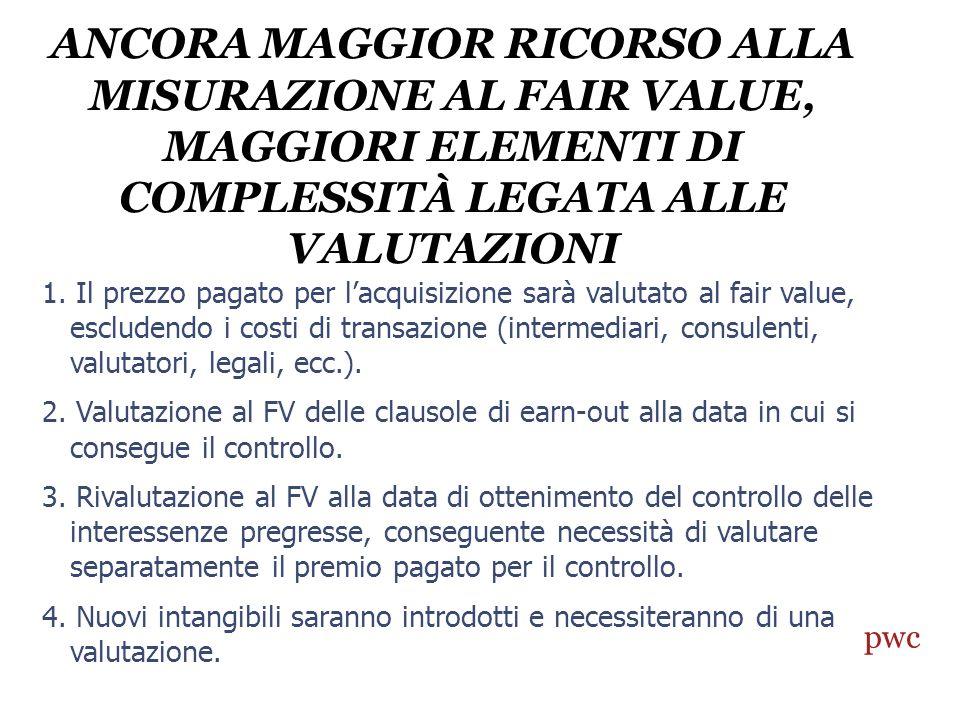 ANCORA MAGGIOR RICORSO ALLA MISURAZIONE AL FAIR VALUE, MAGGIORI ELEMENTI DI COMPLESSITÀ LEGATA ALLE VALUTAZIONI 2 1.