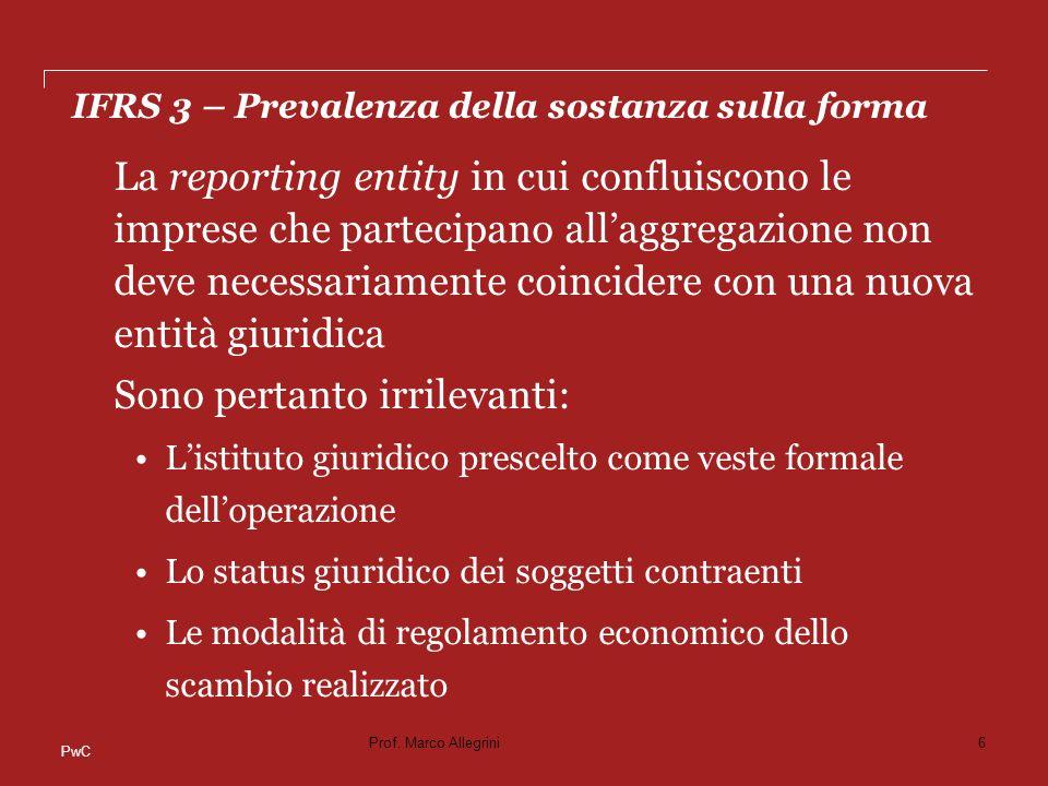 PwC STEP 3 - PPA Eccezioni ai principi generali di rilevazione Contingent liabilities Le disposizioni dello IAS 37 non si applicano per determinare quali passività potenziali rilevare alla data di acquisizione.