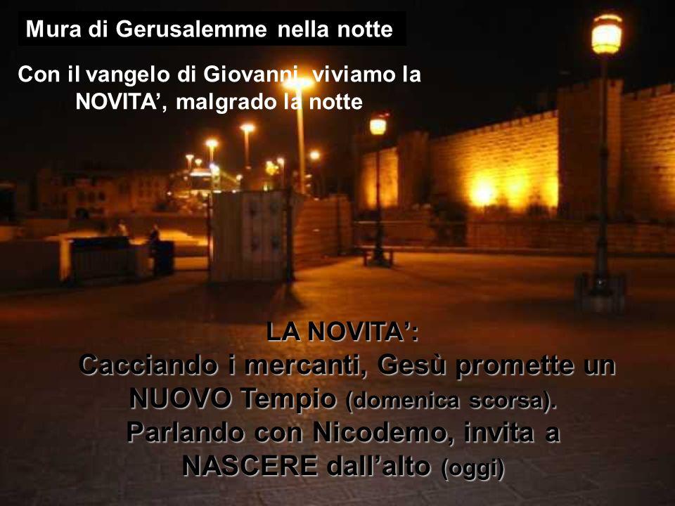 Con il vangelo di Giovanni, viviamo la NOVITA, malgrado la notte LA NOVITA: Cacciando i mercanti, Gesù promette un NUOVO Tempio (domenica scorsa). Cac