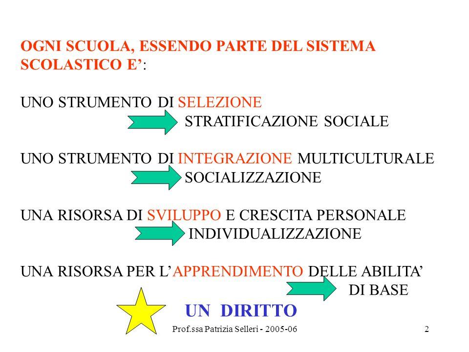 Prof.ssa Patrizia Selleri - 2005-062 OGNI SCUOLA, ESSENDO PARTE DEL SISTEMA SCOLASTICO E: UNO STRUMENTO DI SELEZIONE STRATIFICAZIONE SOCIALE UNO STRUM