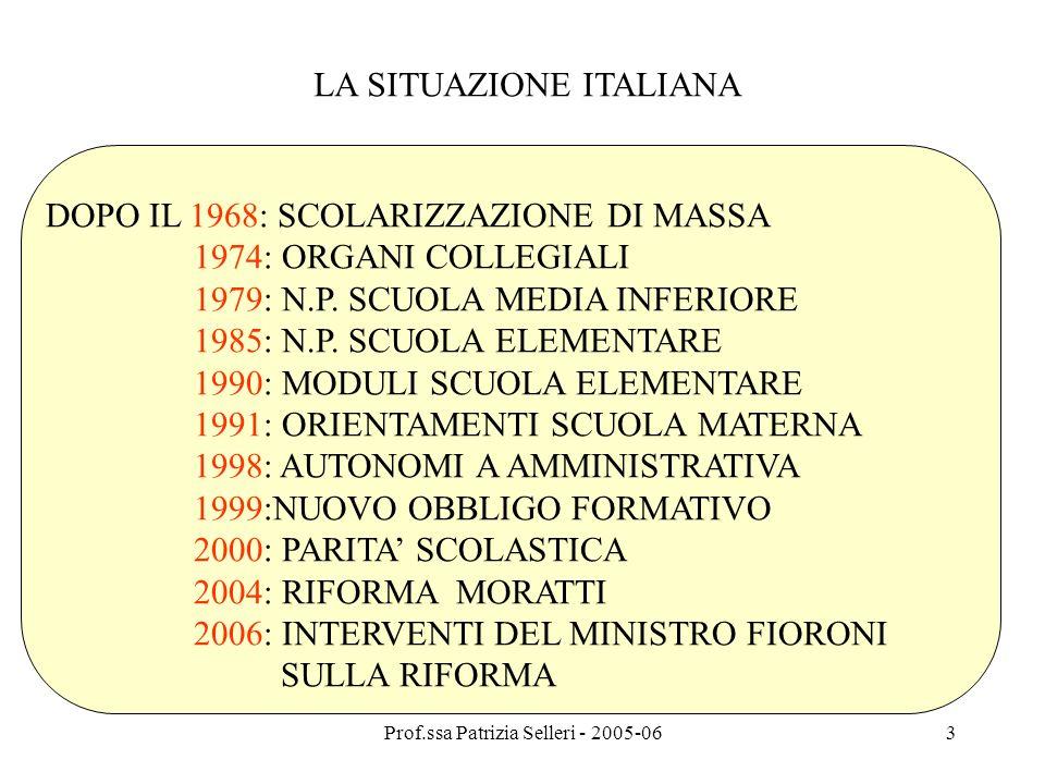 Prof.ssa Patrizia Selleri - 2005-063 LA SITUAZIONE ITALIANA DOPO IL 1968: SCOLARIZZAZIONE DI MASSA 1974: ORGANI COLLEGIALI 1979: N.P. SCUOLA MEDIA INF