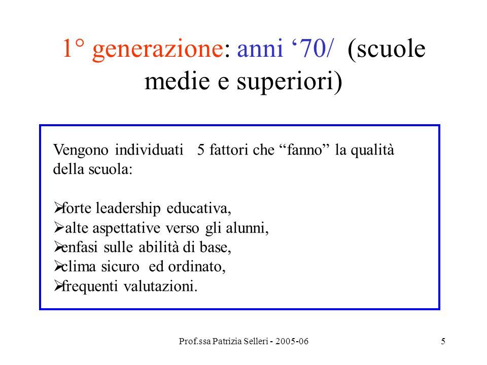 Prof.ssa Patrizia Selleri - 2005-065 1° generazione: anni 70/ (scuole medie e superiori) Vengono individuati 5 fattori che fanno la qualità della scuo