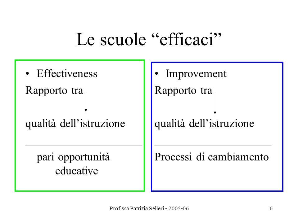 Prof.ssa Patrizia Selleri - 2005-067 2° generazione:anni 80/ (scuole elementari) Oltre ai 5 fattori si entra nel merito delle differenze tra classi: elemento che fa la differenza è la capacità decisionale del personale scolastico.