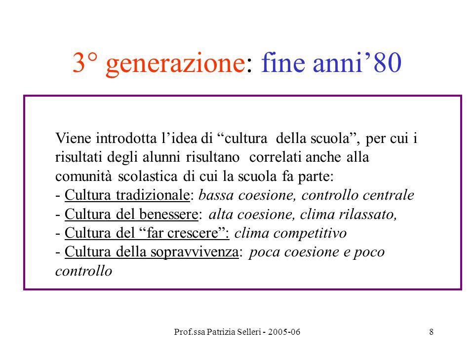 Prof.ssa Patrizia Selleri - 2005-068 3° generazione: fine anni80 Viene introdotta lidea di cultura della scuola, per cui i risultati degli alunni risu