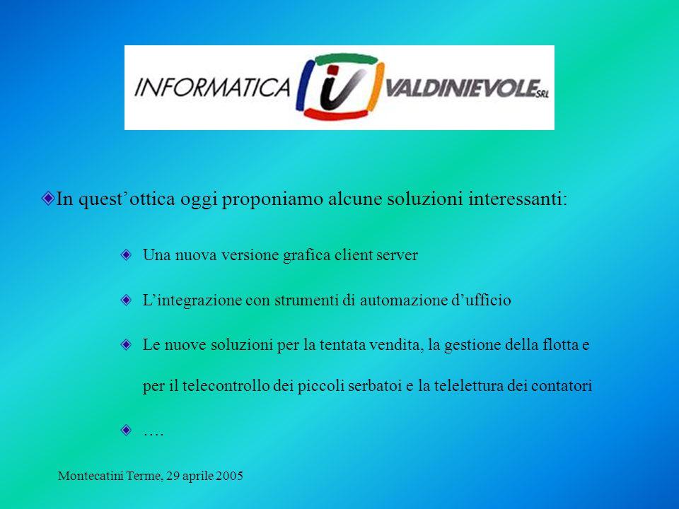 Montecatini Terme, 29 aprile 2005 In questottica oggi proponiamo alcune soluzioni interessanti: Una nuova versione grafica client server Lintegrazione