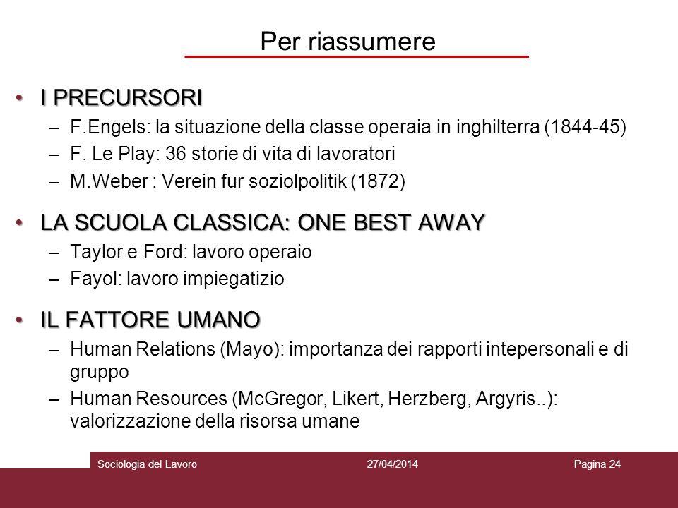 Per riassumere I PRECURSORII PRECURSORI –F.Engels: la situazione della classe operaia in inghilterra (1844-45) –F.