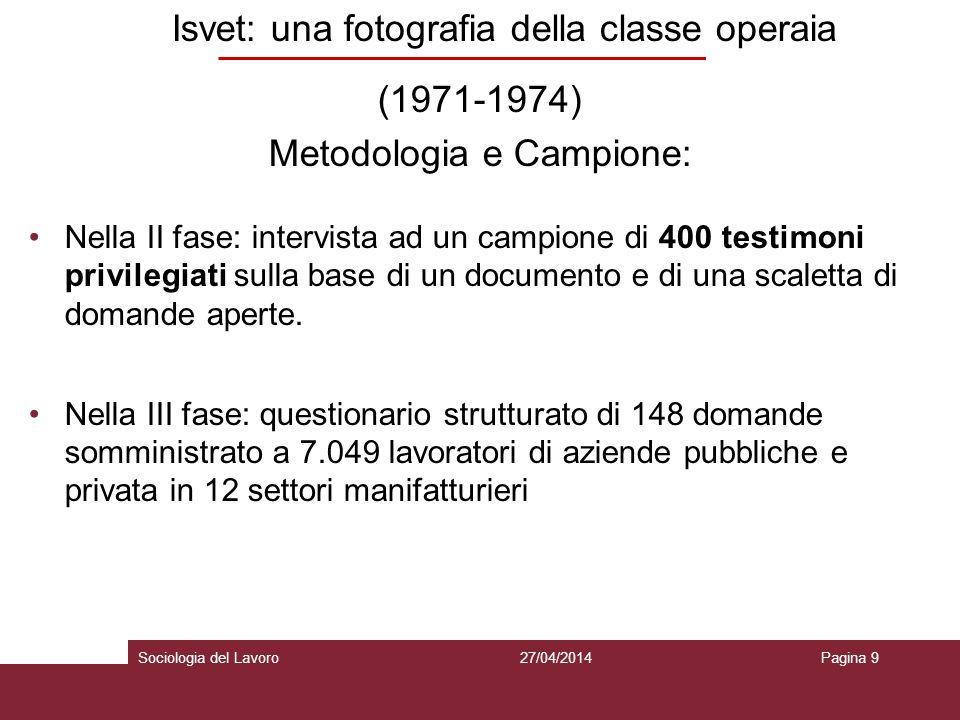 Isvet: una fotografia della classe operaia (1971-1974) Metodologia e Campione: Nella II fase: intervista ad un campione di 400 testimoni privilegiati sulla base di un documento e di una scaletta di domande aperte.