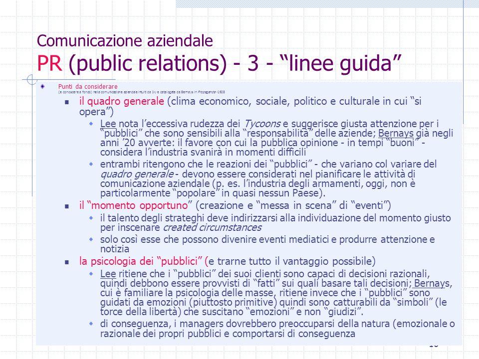 10 Comunicazione aziendale PR (public relations) - 3 - linee guida Punti da considerare (e conoscere a fondo) nella comunicazione aziendale intuiti da
