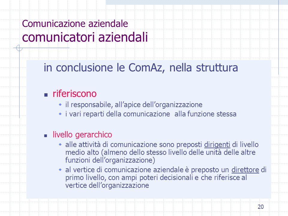 20 Comunicazione aziendale comunicatori aziendali in conclusione le ComAz, nella struttura riferiscono il responsabile, allapice dellorganizzazione i
