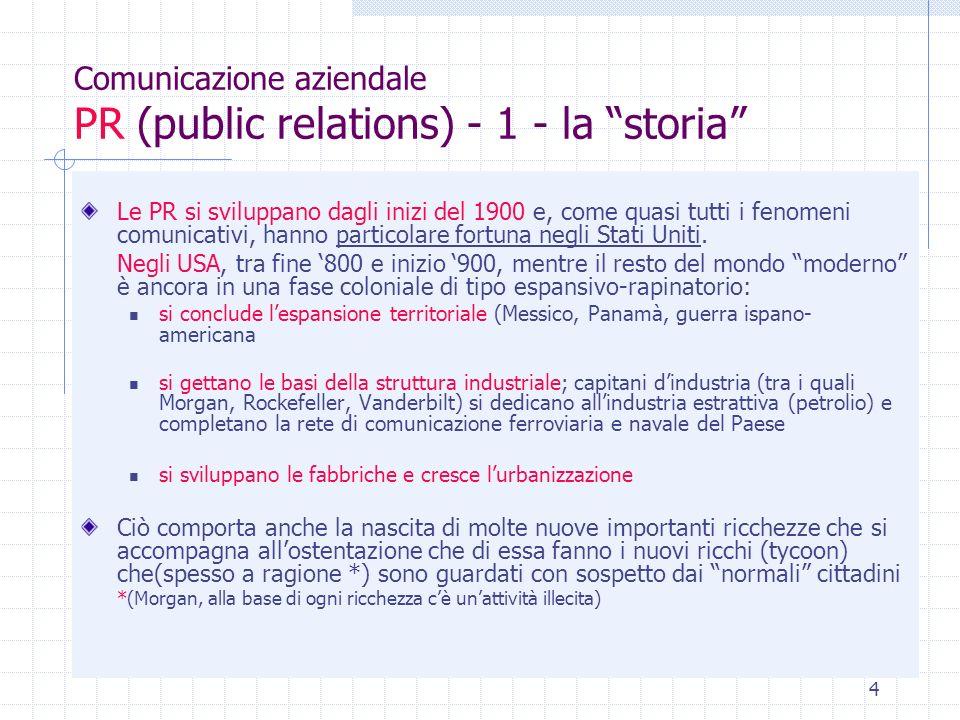 4 Comunicazione aziendale PR (public relations) - 1 - la storia Le PR si sviluppano dagli inizi del 1900 e, come quasi tutti i fenomeni comunicativi,
