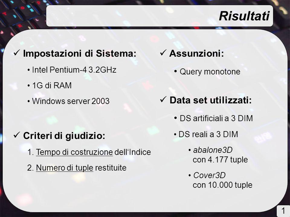 Impostazioni di Sistema: Intel Pentium-4 3.2GHz 1G di RAM Windows server 2003 Criteri di giudizio: 1.
