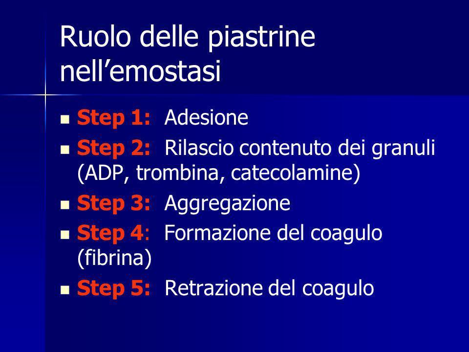 Ruolo delle piastrine nellemostasi Step 1: Adesione Step 2: Rilascio contenuto dei granuli (ADP, trombina, catecolamine) Step 3: Aggregazione Step 4: