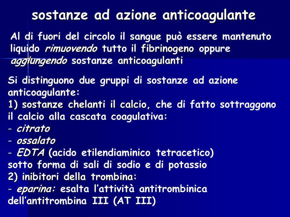 sostanze ad azione anticoagulante rimuovendofibrinogeno aggiungendoanticoagulanti Al di fuori del circolo il sangue può essere mantenuto liquido rimuo