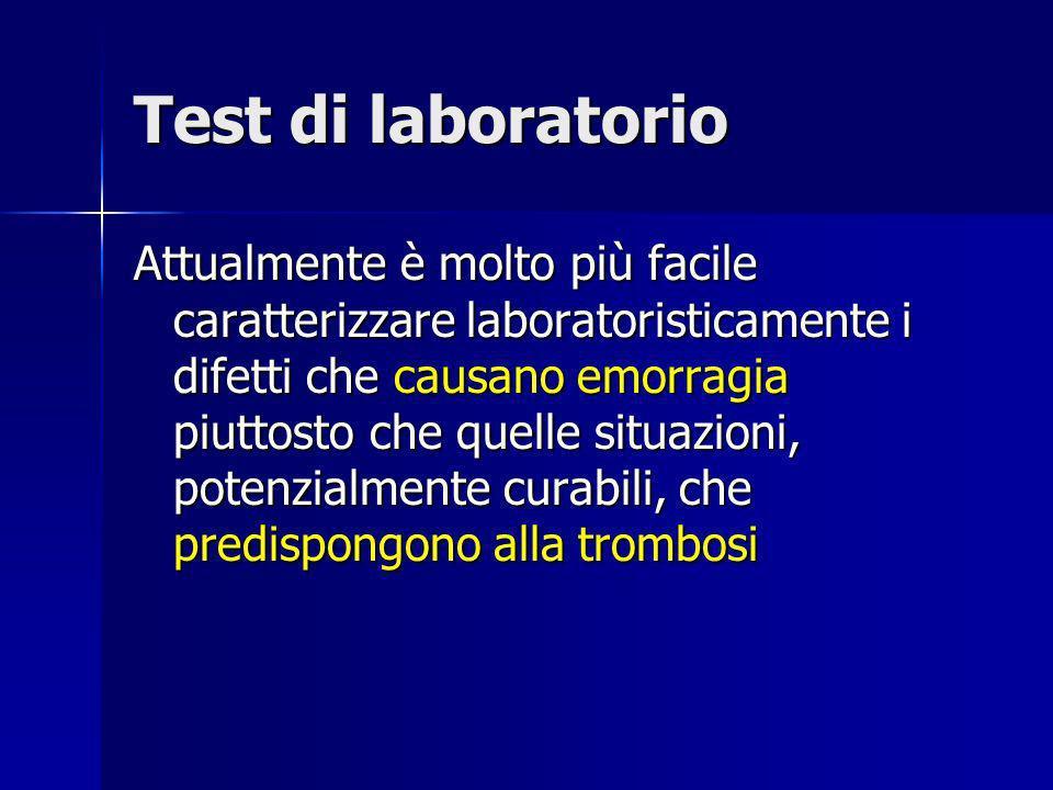 Test di laboratorio Attualmente è molto più facile caratterizzare laboratoristicamente i difetti che causano emorragia piuttosto che quelle situazioni