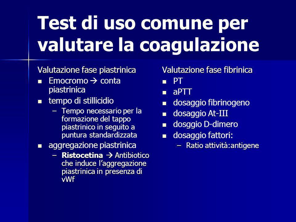 Test di uso comune per valutare la coagulazione Valutazione fase piastrinica Emocromo conta piastrinica tempo di stillicidio – –Tempo necessario per l