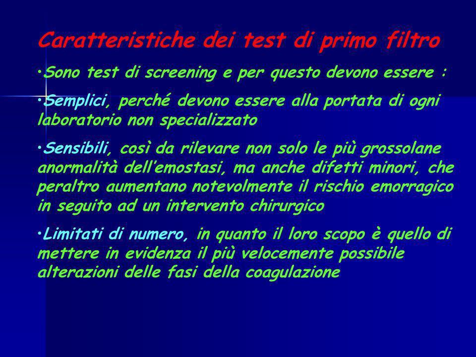 Caratteristiche dei test di primo filtro Sono test di screening e per questo devono essere : Semplici, perché devono essere alla portata di ogni labor