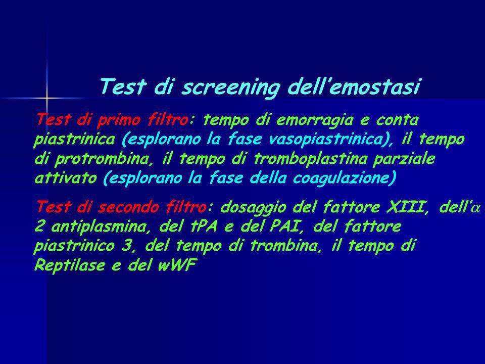 Test di screening dellemostasi Test di primo filtro: tempo di emorragia e conta piastrinica (esplorano la fase vasopiastrinica), il tempo di protrombi