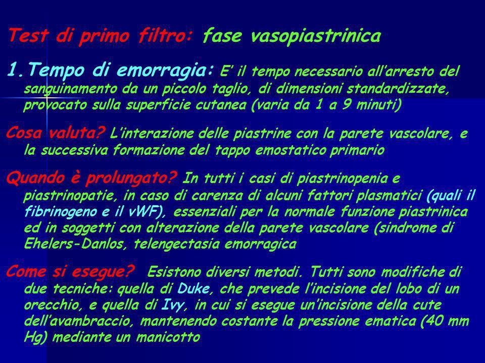 Test di primo filtro: fase vasopiastrinica 1.Tempo di emorragia: E il tempo necessario allarresto del sanguinamento da un piccolo taglio, di dimension