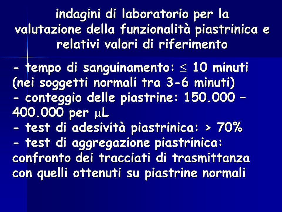 indagini di laboratorio per la valutazione della funzionalità piastrinica e relativi valori di riferimento - tempo di sanguinamento: 10 minuti (nei so