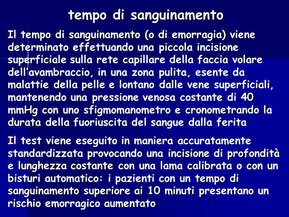 tempo di sanguinamento tempo di sanguinamento (o di emorragia) 40 mmHg cronometrando durata Il tempo di sanguinamento (o di emorragia) viene determina