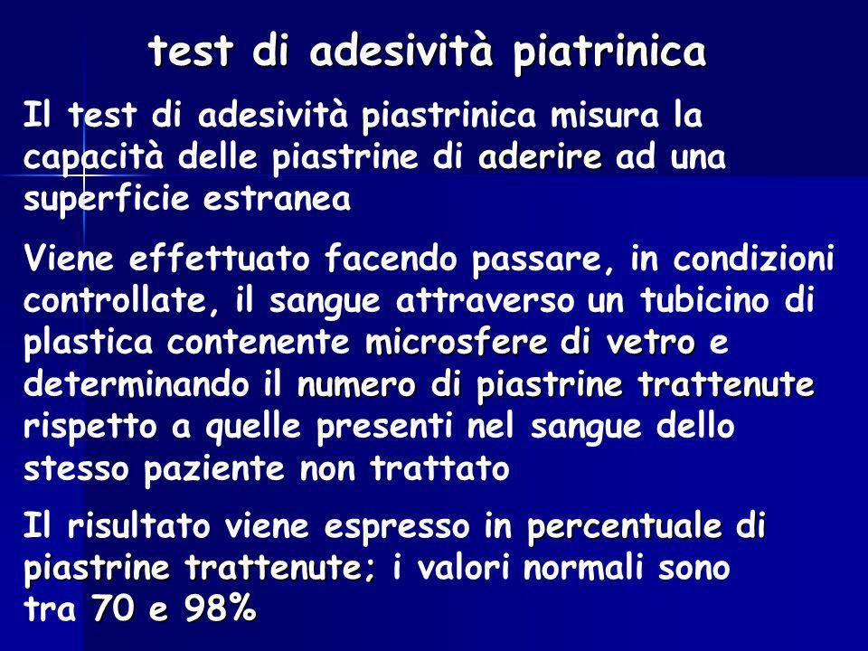 test di adesività piatrinica aderire Il test di adesività piastrinica misura la capacità delle piastrine di aderire ad una superficie estranea microsf