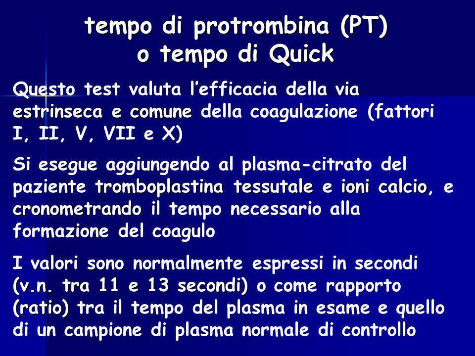 tempo di protrombina (PT) o tempo di Quick estrinseca e comune Questo test valuta lefficacia della via estrinseca e comune della coagulazione (fattori