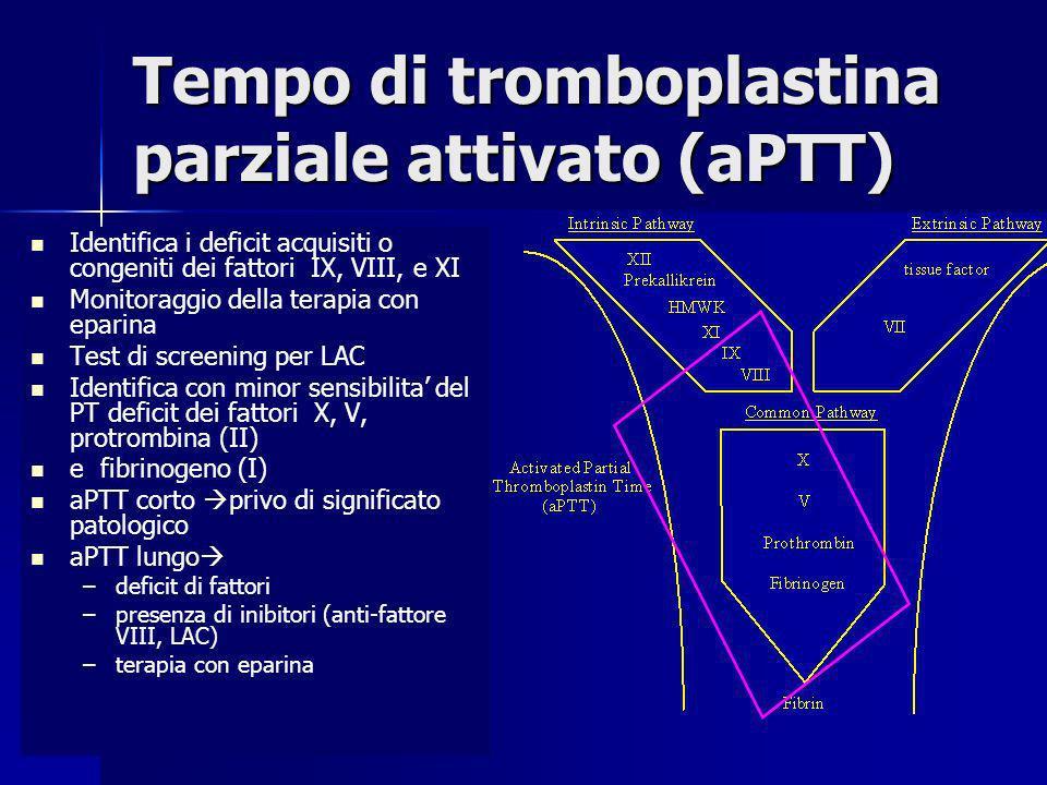 Tempo di tromboplastina parziale attivato (aPTT) Identifica i deficit acquisiti o congeniti dei fattori IX, VIII, e XI Monitoraggio della terapia con
