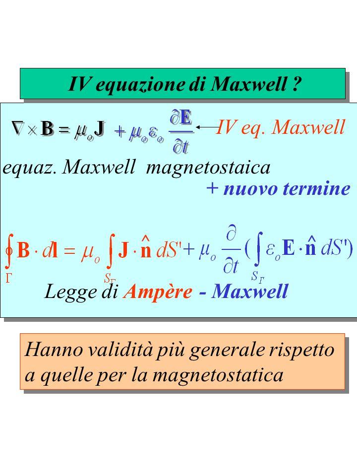 equaz. Maxwell magnetostaica ^ ^ IV equazione di Maxwell ? + nuovo termine Legge di Ampère- Maxwell Hanno validità più generale rispetto a quelle per