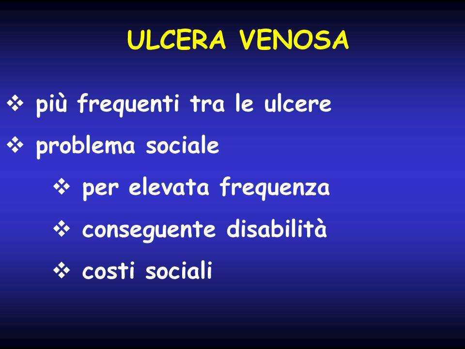 ULCERA VENOSA più frequenti tra le ulcere problema sociale per elevata frequenza conseguente disabilità costi sociali