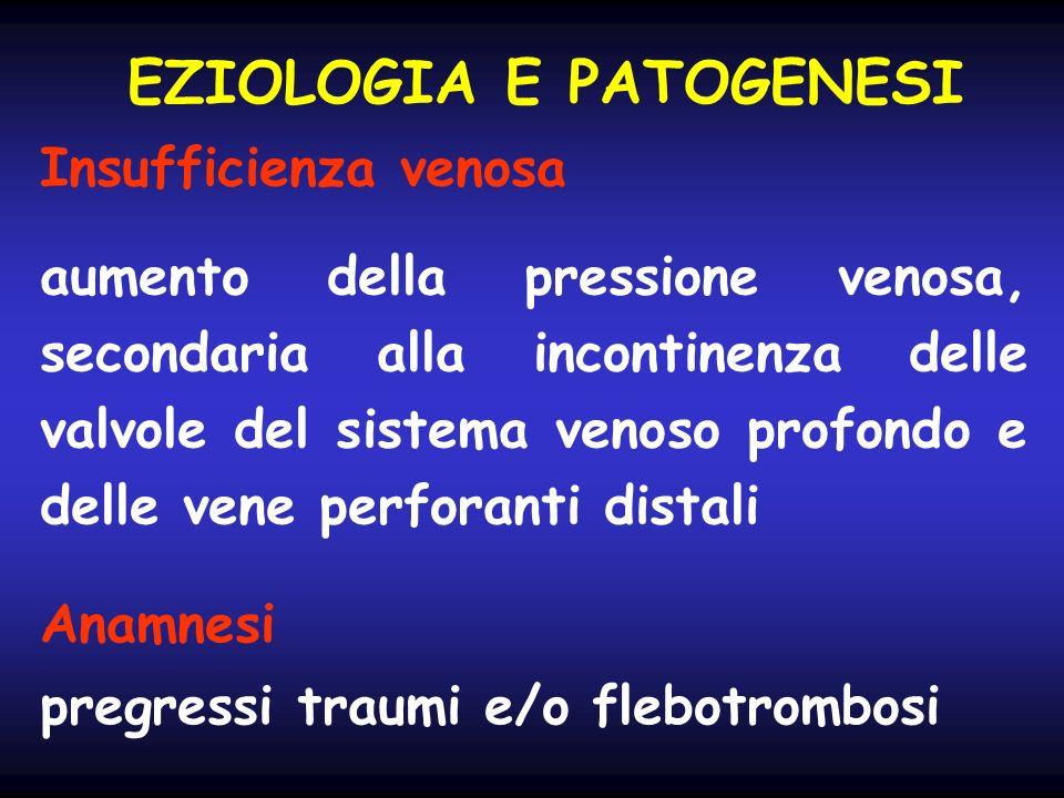EZIOLOGIA E PATOGENESI Insufficienza venosa aumento della pressione venosa, secondaria alla incontinenza delle valvole del sistema venoso profondo e d