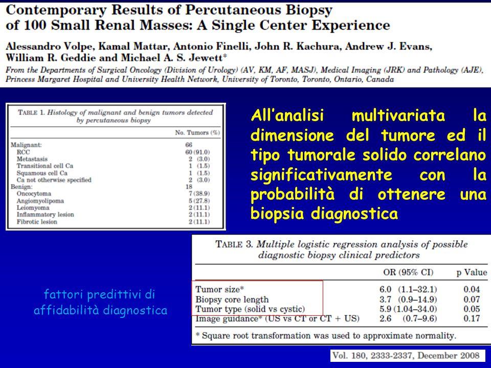 fattori predittivi di affidabilità diagnostica Allanalisi multivariata la dimensione del tumore ed il tipo tumorale solido correlano significativament