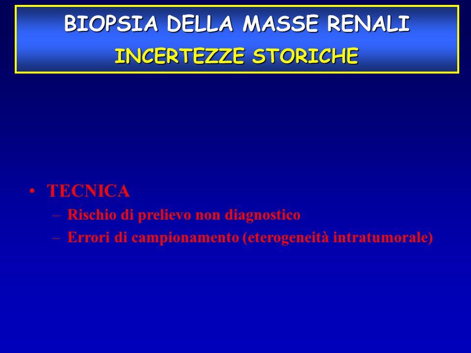 BIOPSIA DELLA MASSE RENALI INCERTEZZE STORICHE TECNICA –Rischio di prelievo non diagnostico –Errori di campionamento (eterogeneità intratumorale)