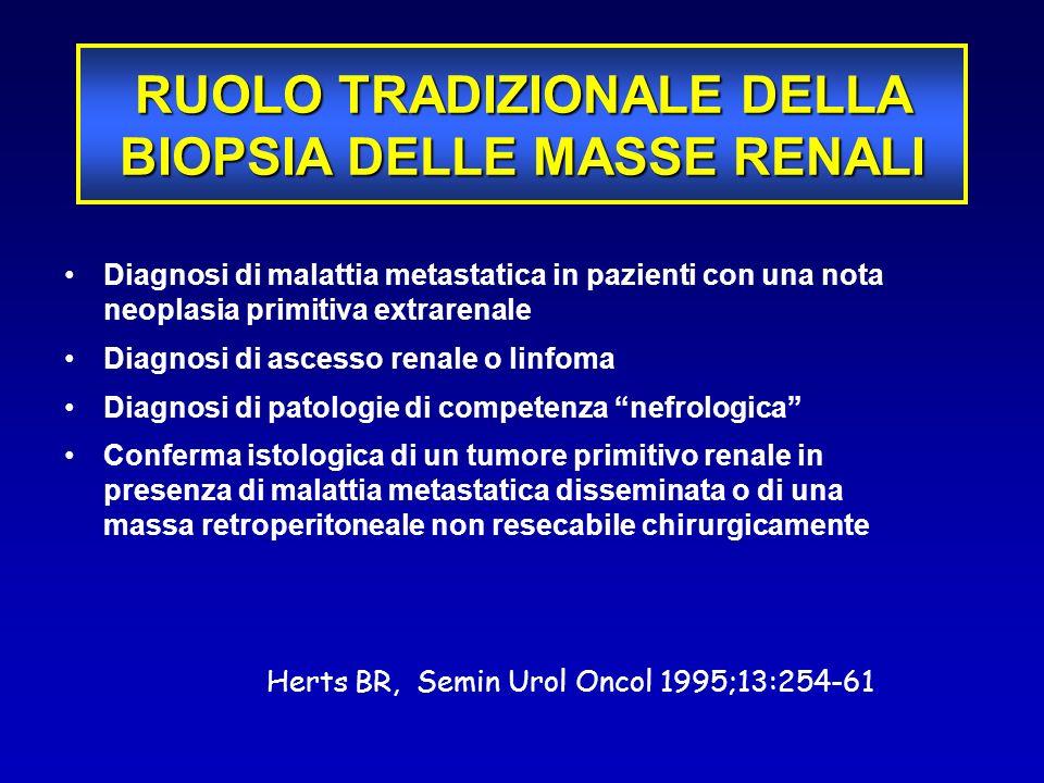 Diagnosi di malattia metastatica in pazienti con una nota neoplasia primitiva extrarenale Diagnosi di ascesso renale o linfoma Diagnosi di patologie d