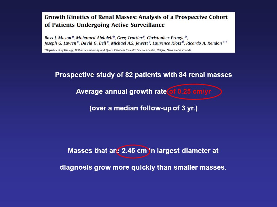 Masses that are 2.45 cm in largest diameter at diagnosis grow more quickly than smaller masses. Prospective study of 82 patients with 84 renal masses